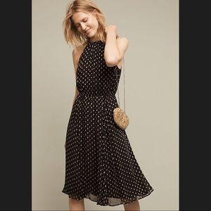 ANTHROPOLOGIE PLENTY Gold dot halter dress